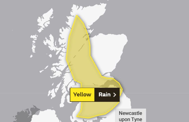 The Met Office's map shows the affected area.