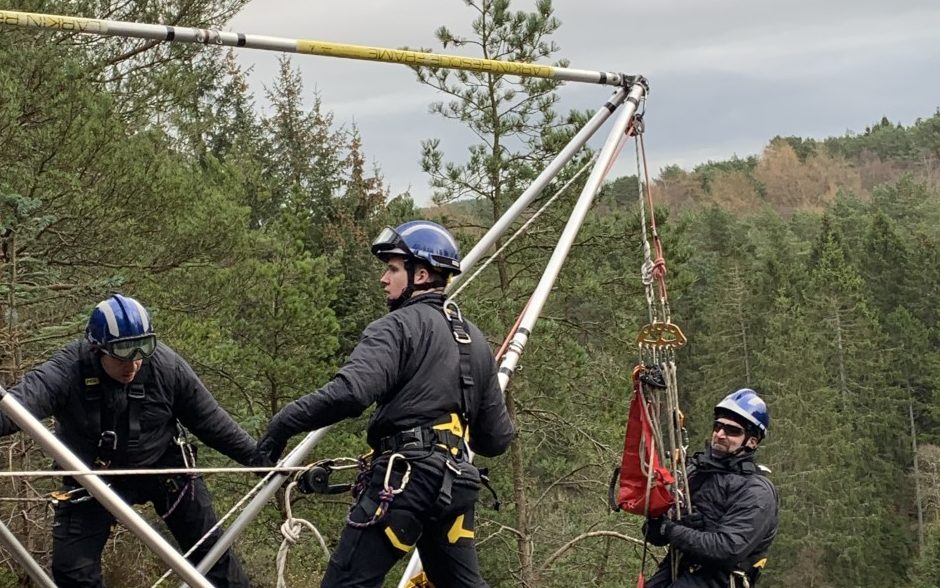 The rope rescue team in training