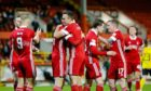 Aberdeen celebrate during their 6-0 win over Runavik.