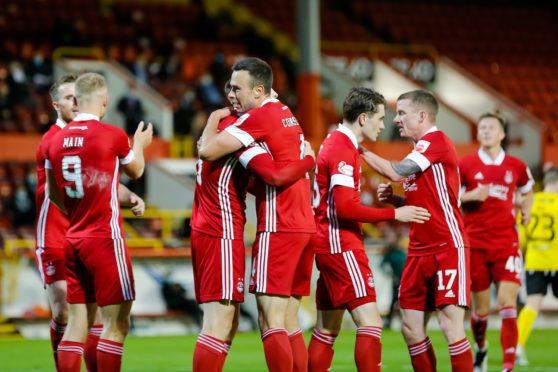 Aberdeen celebrate during their 6-0 win over Runavik.