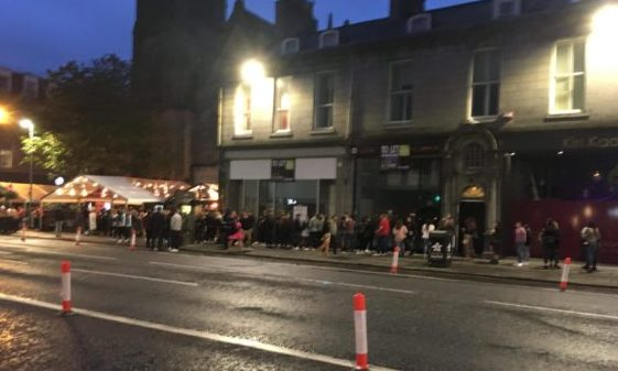 Queues outside Soul Bar, Aberdeen.