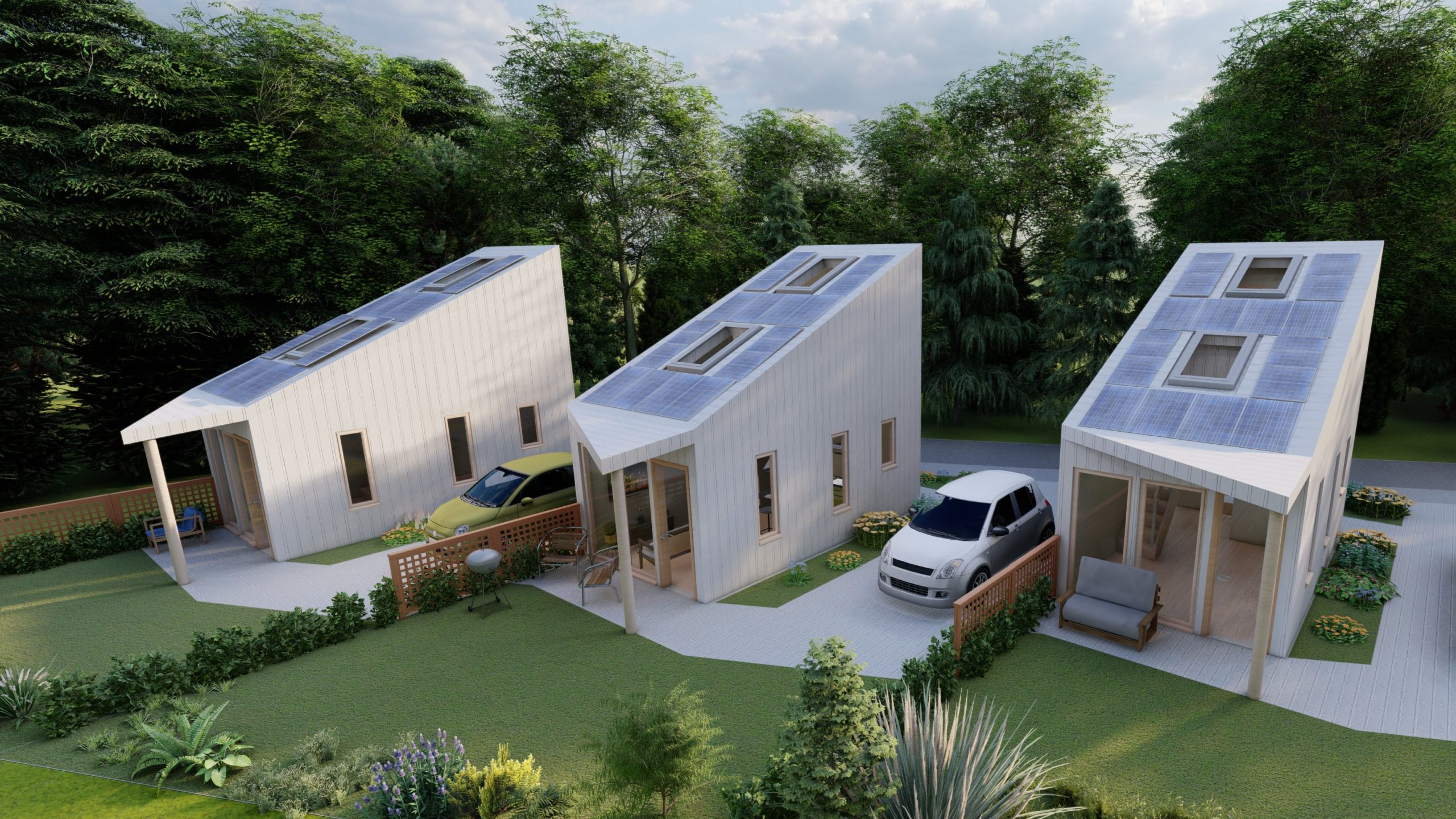 An artist's impression of the so-called 'Tiny Houses' designed by north-east architecture students, which can be self-assembled.