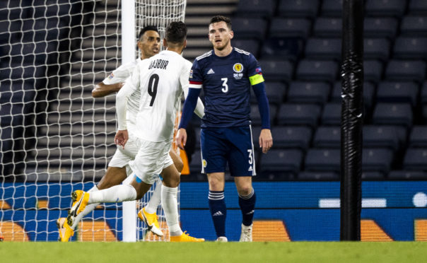 Israel's Eran Zahavi celebrates after scoring to make it 1-1 against Israel. Scotland will welcome Israel for the huge Euros play-off semi-final next month.