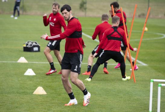 Scott McKenna during an Aberdeen training session.