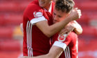 Aberdeen's Ross McCrorie (L) celebrates making it 1-0 with Marley Watkins
