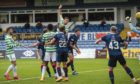 Shane Duffy heads home a debut goal to make it 3-0 during the Scottish Premiership match between Ross County and Celtic