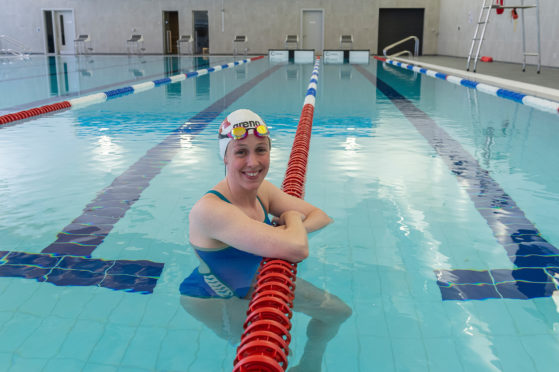 Hannah Miley tries out the new pool in Inverurie's community campus.