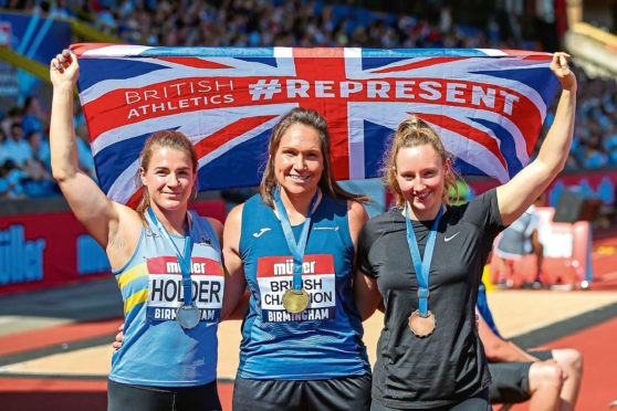 Left to right, silver medalist Amy Holder, gold medalist Kirsty Law and bronze medalist Shadine Duequemin at last year's British championships.