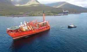 The Banff FPSO arriving at Kishorn Port.