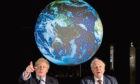 The Prime Minister Boris Johnson (left) and Sir David Attenborough at the launch of the next COP26 UN Climate Summit at the Science Museum in London.