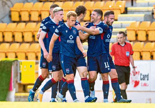 County celebrate skipper Iain Vigurs' goal.