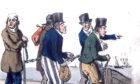 Contemporary drawing of newly arrived convicts in a chain gang Down Under