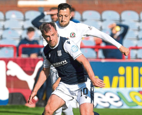 Paul McGowan, left, of Dundee and Connor Scully.