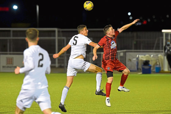 Cove Rangers and Fraserburgh met at the Balmoral Stadium on Tuesday night. Picture by Kenny Elrick.
