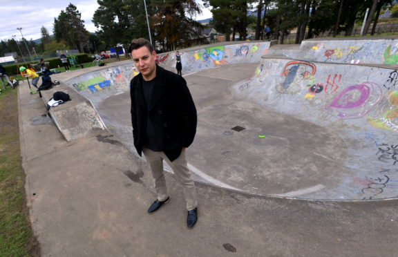 Councillor Robbie Withey has thanked local teens for their suggestions on cleaning up Alford's skate park. Picture by Chris Sumner.
