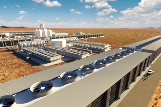 A rendering of what one of Carbon Engineering's large-scale DAC plants looks like.