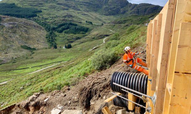 Landslide mitigation works at the Rest and Be Thankful