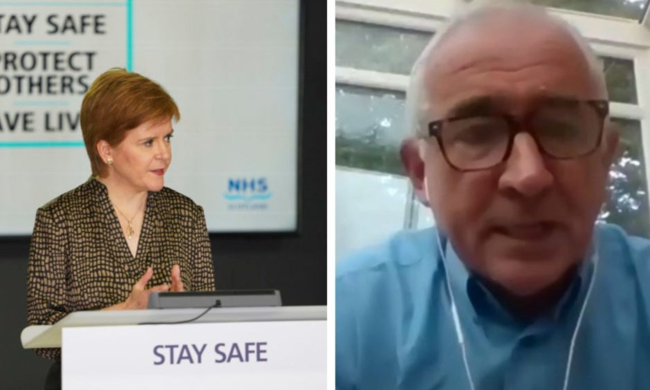 Nicola Sturgeon at her briefing, left and Ian Small, BBC Scotland's head of public policy