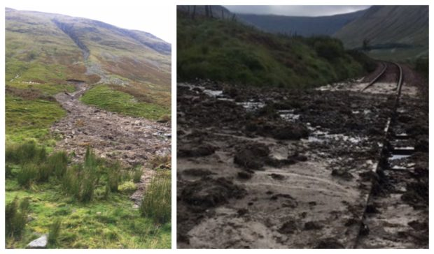 Photographs show the damage caused by the landslip.