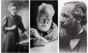 INVENTORS: Marie Curie, Alexander Graham Bell and James Clerk Maxwell.