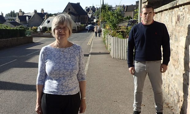 Forres councillor Claire Feaver and Moray MP Douglas Ross on St Leonard's Road in Forres.