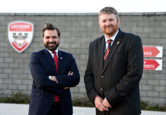 Councillor John Wheeler with Lochside Academy head teacher, Neil Hendry. Picture by Darrell Benns.