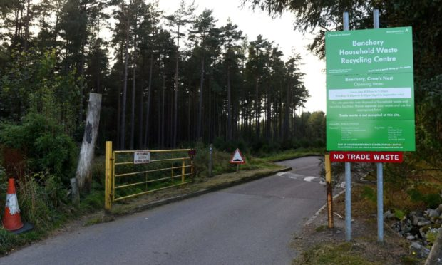 Banchory Household Waste Recycling Centre, Banchory, where Deeside residents have had to go in the absence of the Ballater Saturday waste lorry.