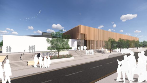 A visualisation of the front entrance at the new Milltimber Primary School.