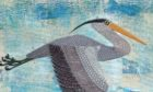 One of the artworks in the display by Tarland artist Mia Buehr, of a heron. Image courtesy of Dee Catchment Partnership