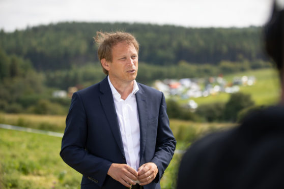 Grant Shapps at the scene of the crash on August 13. Picture by Kim Cessford