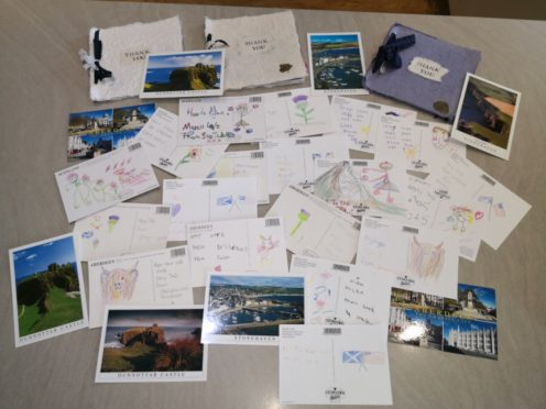 Postcards from schoolchildren in Stonehaven, which were sent to residents in twin town Athens, Alabama.