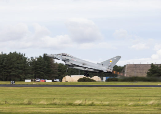 Typhoons launch from Leuchars on a QRA mission.