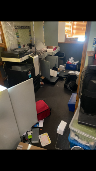 The office was ransacked