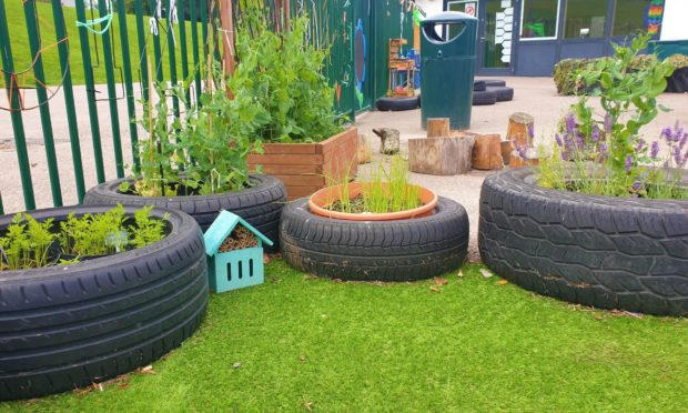 The grass in the new outdoor play area at Mile End School