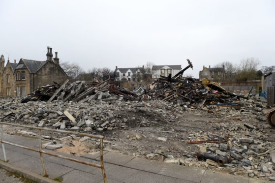 The demolished Park Primary School, Invergordon which was largely destroyed by fire in February. Picture by Sandy McCook.