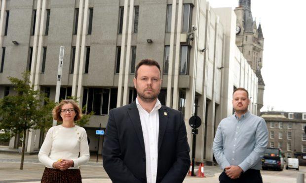 L-R: SNP councillors Audrey Nicoll, Ciaran McRae and Alex McLellan. Picture by Jim Irvine.