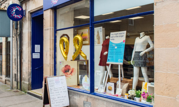 The Cancer Research UK shop on Elgin High Street.