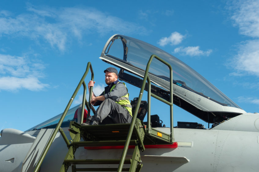 Crews perform checks on Typhoons that have arrived at Kinloss Barracks from Lithuania. Photos by Jason Hedges.
