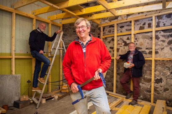 Renovation work begins - L-R: Andy Campbell (Volunteer), Stan Slater (Director of Three Kings Cullen Association), Malcolm Hope (Volunteer).