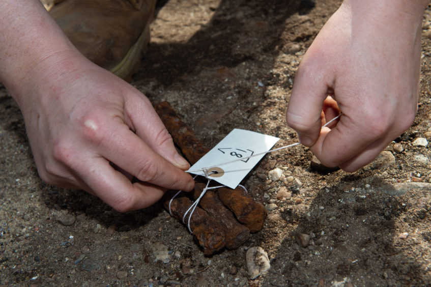 Artefacts uncovered during the dig at the Portgordon ice house. Pictures by Jason Hedges.