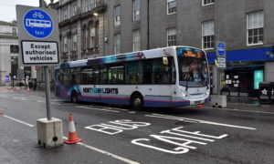 Locator of installed bus gate on Union Street between the Adelphi and Market Street.  Picture by Kenny Elrick     29/06/2020