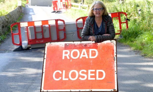 Councillor Isobel Davidson next to Ardlethen Bridge, near Ellon.