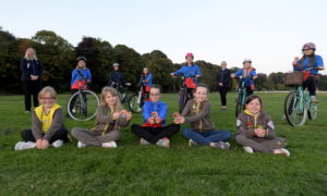 The Turriff Brownies and Girlguides front left: Emily Pearson, Millie Cahoon, Ashley Reid, Sarah Dow and Murron Lightning. Back, Laura Cruickshank, Chloe Cruickshank, Audrey Michie, Kirsty Walker, Isla Simpson, Wendy Cahoon, Isla McRae and Eilidh Paterson. Picture by KATH FLANNERY