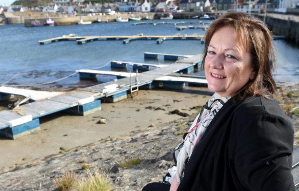 Buckie councillor Sonya Warren at Findochty Harbour.