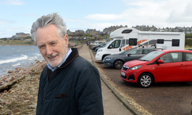 Heldon and Laich councillor John Cowe at Lossiemouth's West Beach car park.