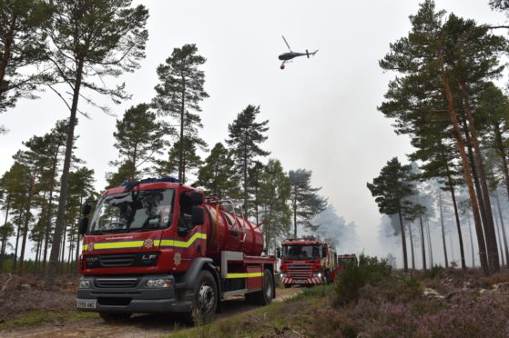 Fire crews at Culbin Forest