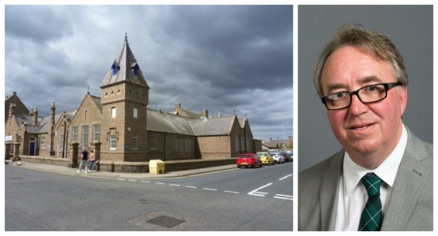 The Glenugie Business Centre in Peterhead, left and Councillor Stephen Calder