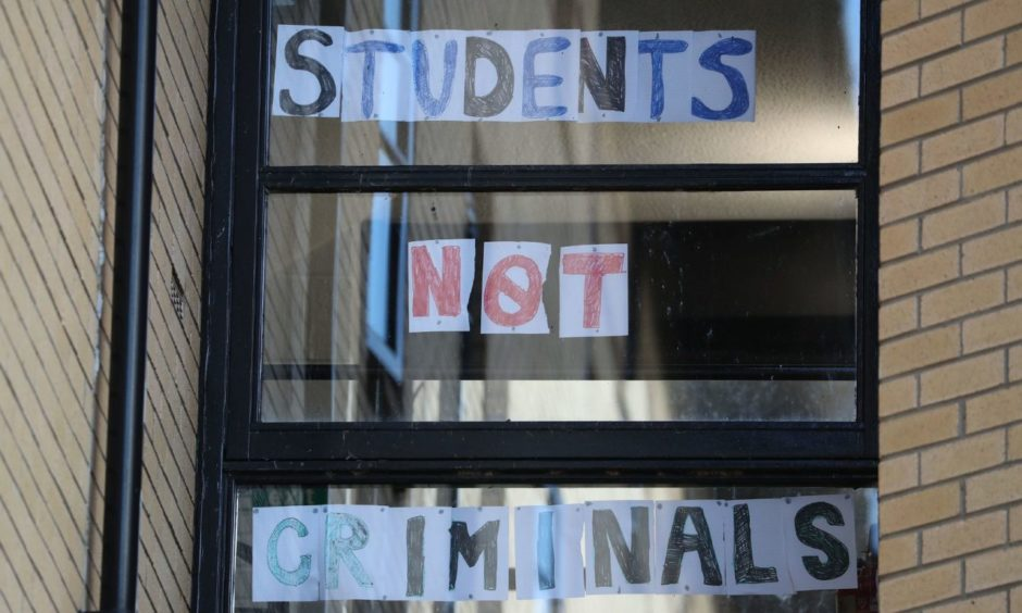 A sign at Murano Street Student Village in Glasgow, where Glasgow University students are being tested at a pop up test centre.