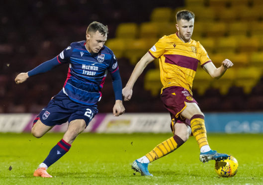 Ross County midfielder Jordan Tillson (left)