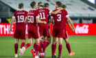 Aberdeen players celebrate Ross McCrorie's goal against Viking FK